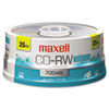 Maxell® CD-RW Discs, 700MB/80min, 4x, Spindle, Silver, 25/Pack MAX630026