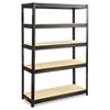 Boltless Steel/Particleboard Shelving, Five-Shelf, 48w x 18d x 72h, Black