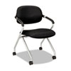 Basyx by HON VL303 Series Nesting Arm Chair, Black/Silver BSXVL303MM10X