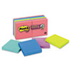 Post-it® Notes Super Sticky Pads in Rio de Janeiro Colors, 3 x 3, 90-Sheet, 12/Pack MMM65412SSUC