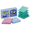 Post-it® Pop-up Notes Super Sticky Pop-up Recycled Notes in Bora Bora Colors, 3 x 3, 90-Sheet, 6/Pac MMMR3306SST