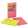 Post-it® Notes Super Sticky Pads in Rio de Janeiro Colors, Lined, 5 x 8, 45-Sheet, 4/Pack MMM5845SSUC