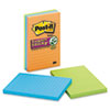 Post-it® Notes Super Sticky Pads in Marrakesh Colors, Lined, 4 x 6, 90-Sheet, 3/Pack MMM6603SSAN