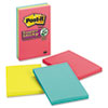 Post-it® Notes Super Sticky Pads in Rio de Janeiro Colors, Lined, 4 x 6, 90-Sheet, 3/Pack MMM6603SSUC