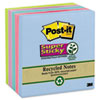 Post-it® Notes Super Sticky Recycled Notes in Bora Bora Colors, 3 x 3, 90-Sheet, 5/Pack MMM6545SST