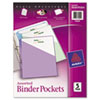 <strong>Avery®</strong><br />Binder Pockets, 3-Hole Punched, 9 1/4 x 11, Assorted Colors, 5/Pack