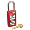 "Lightweight Zenex Safety Lockout Padlock, 1 1/2"" Wide, Red, 2 Keys, 6/Box"