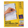 Avery® Printable Plastic Tabs with Repositionable Adhesive, 1 3/4, Assorted, 80/Pack AVE16283