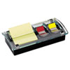 Post-it® Notes Note and Flag Dispenser, 3 x 3 Canary Notes and Assorted Flags, Black/Clear MMMDS100