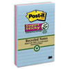 Post-it® Notes Super Sticky Recycled Notes in Bora Bora Colors, Lined, 4 x 6, 90-Sheet, 3/Pack MMM6603SST
