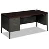 HON® Metro Classic Left Pedestal Desk, 66w x 30d, Mahogany/Charcoal HONP3266LNS
