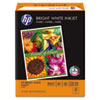 HP Bright White Inkjet Paper, 97 Brightness, 24lb, 8-1/2 x 11, 500 Sheets/Ream HEW203000