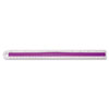 Westcott® Plastic Ruler with Rubber Finger Grip, 12in/30cm, Assorted Translucent ACM15501