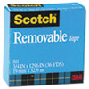 "Scotch® Removable Tape, 3/4"" x 1296"", 1"" Core, Transparent MMM811341296"