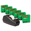 """Scotch® Magic Tape Value Pack w/C40 Dispenser, 3/4"""" x 1000"""", 1"""" Core, Clear, 6/Pack MMM810C40BK"""