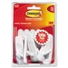 General Purpose Hooks, Medium, 3lb Cap, White, 6 Hooks & 12 Strips/Pack