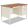 "<strong>Alera®</strong><br />Single Pedestal Steel Desk, 45.25"" x 24"" x 29.5"", Cherry/Putty"