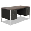 "<strong>Alera®</strong><br />Double Pedestal Steel Desk, 60"" x 30"" x 29.5"", Mocha/Black"