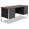 Alera® Double Pedestal Steel Credenza, 60w x 24d x 29-1/2h, Walnut/Black ALESD6024BW