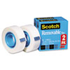"""REMOVABLE TAPE, 1"""" CORE, 0.75"""" X 36 YDS, TRANSPARENT, 2/PACK"""