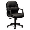 HON® 2090 Pillow-Soft Series Managerial Leather Mid-Back Swivel/Tilt Chair, Black HON2092SR11T