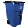 Rubbermaid® Commercial Brute Recycling Rollout Container, Square, 50gal, Blue RCP9W2773BLU
