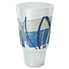 <strong>Dart®</strong><br />Impulse Hot/Cold Foam Drinking Cup, 32 oz, Flush Fill, Pedestal Base, White/Blue/Gray, 16/Bag, 25 Bags/Carton