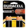 Duracell® CopperTop Alkaline Batteries with Duralock Power Preserve Technology, 9V, 2/Pk DURMN1604B2Z