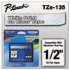 "<strong>Brother P-Touch®</strong><br />TZe Standard Adhesive Laminated Labeling Tape, 0.47"" x 26.2 ft, White on Clear"