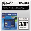 "TZe Standard Adhesive Laminated Labeling Tape, 0.35"" x 26.2 ft, White on Black"