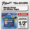 "<strong>Brother P-Touch®</strong><br />TZe Standard Adhesive Laminated Labeling Tapes, 0.47"" x 26.2 ft, Black on White, 2/Pack"