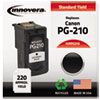 Remanufactured Black Ink, Replacement For Canon PG-210 (2974B001), 220 Page Yield