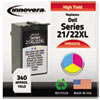 Remanufactured 330-5266 (21XL/22XL) High-Yield Ink, 340 Page-Yield, Tri-Color