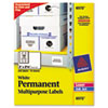 PERMANENT ID LABELS W/ SURE FEED TECHNOLOGY, INKJET/LASER PRINTERS, 2 X 2.63, WHITE, 15/SHEET, 15 SHEETS/PACK