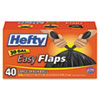 Easy Flaps Trash Bags, 30gal, Black, 40/Box
