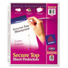 Secure Top Sheet Protectors, Super Heavy Gauge, Letter, Diamond Clear, 25/Pack