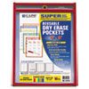 <strong>C-Line®</strong><br />Reusable Dry Erase Pockets, 6 x 9, Assorted Primary Colors, 10/Pack