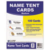 C-Line® Embossed Tent Cards, White, 8 1/2 x 2 1/2, 2 Card/Sheet, 50 Sheets/Box CLI87587