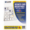 C-Line® Tabbed Business Card Binder Pages, 20 Cards Per Letter Page, Clear, 5 Pages CLI61117