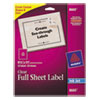 Avery® Clear Shipping Labels, Inkjet, 8 1/2 x 11, 25/Pack AVE8665