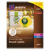 """Avery® Round Print-to-the-Edge Labels, 2"""" dia, Glossy White, 120/Pack AVE22807"""