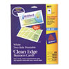Avery® True Print Clean Edge Business Cards, Inkjet, 2 x 3 1/2, White, 200/Pack AVE8871