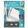 "Binder Spine Inserts, 1/2"" Spine Width, 16 Inserts/Sheet, 5 Sheets/Pack"