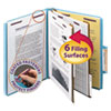 Six-Section Pressboard Top Tab Classification Folders with SafeSHIELD Fasteners, 2 Dividers, Letter Size, Blue, 10/Box