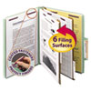 <strong>Smead®</strong><br />Pressboard Classification Folders with SafeSHIELD Coated Fasteners, 2/5 Cut, 2 Dividers, Letter Size, Gray-Green, 10/Box