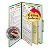 Six-Section Pressboard Top Tab Classification Folders with SafeSHIELD Fasteners, 2 Dividers, Legal Size, Green, 10/Box