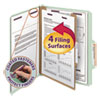 Pressboard Classification Folders with SafeSHIELD Coated Fasteners, 2/5 Cut, 1 Divider, Letter Size, Gray-Green, 10/Box