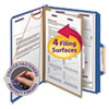 <strong>Smead®</strong><br />Four-Section Pressboard Top Tab Classification Folders with SafeSHIELD Fasteners, 1 Divider, Letter Size, Dark Blue, 10/Box