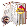 Pressboard Classification Folders with SafeSHIELD Coated Fasteners, 2/5 Cut, 3 Dividers, Letter Size, Red, 10/Box