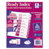 Ready Index Customizable Table of Contents Asst Dividers, 8-Tab, Ltr, 24 Sets